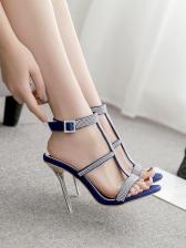 Rhinestone Decor High Heeled Sandals For Women