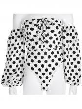 Boat Neck Lantern Sleeve Polka Dots Bodysuit