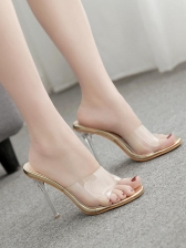 Sexy Transparent High Heeled Slippers For Women