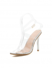 Transparent Perspex Ankle Buckle High Heeled Sandals