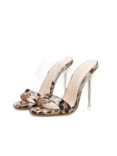 Euro Style Leopard Printed High Heeled Slippers