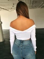 Deep V Neck Button Up Knitting T-Shirt