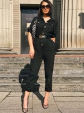 Turndown Neck Pockets Solid Jumpsuit For Women