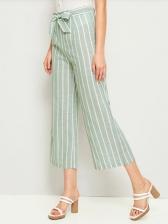Fashion Tie-Wrap Striped Cropped Pants