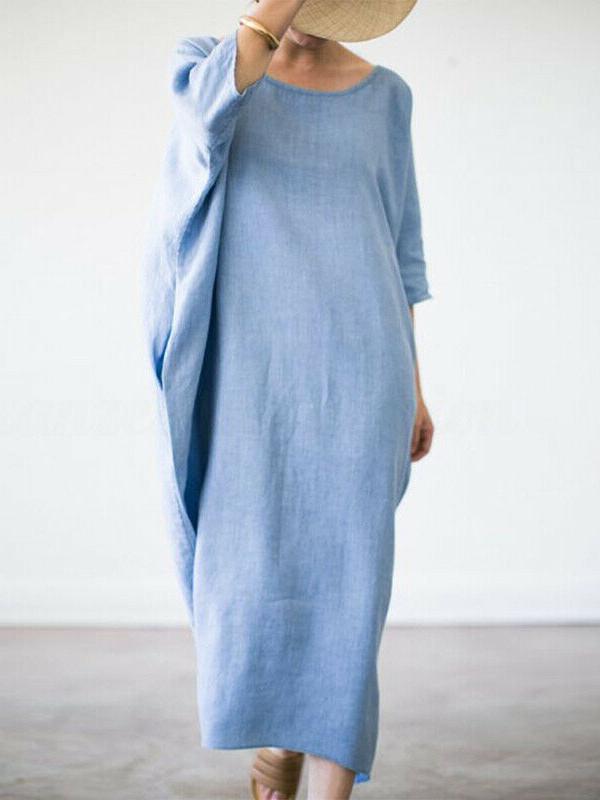 Minimalist Solid Bat Sleeve Plus Size Maxi Dress