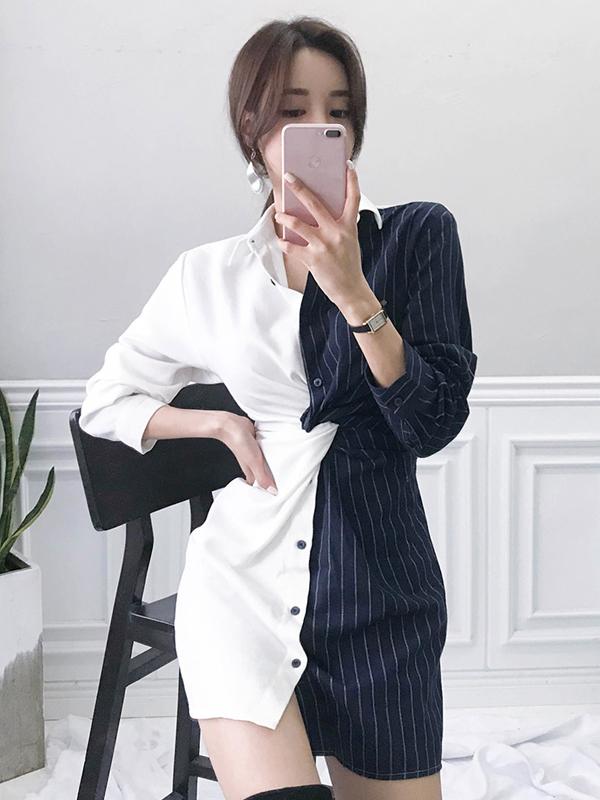 Patchwork Striped Long Sleeve Shirt Dress