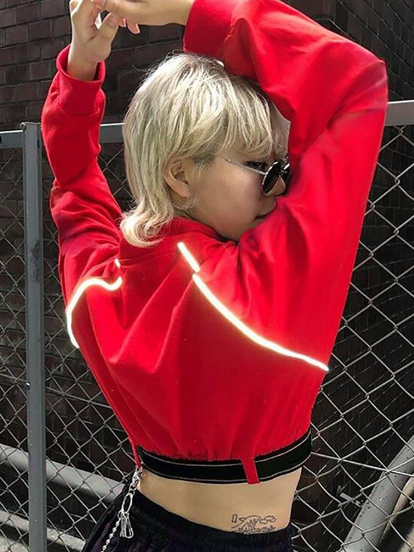 Mock Neck Zipper Fluorescent Line Cropped Coat