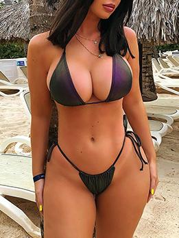 Sexy Contrast Color Reflective Bikini