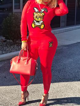 Sequined Cartoon Bear Long Sleeve 2 Piece Outfits