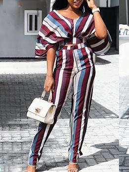 Contrast Color Stripes 2 Piece Outfits