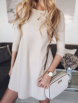 Easy Matching Three Quarter Sleeve Short Dress