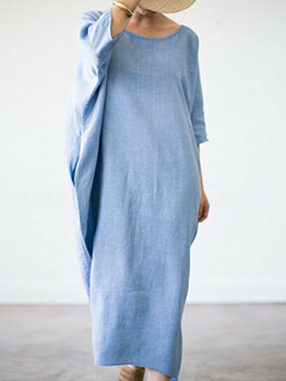 Minimalist Solid Bat Sleeve Plus Size Maxi Dress