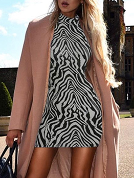 Chic Mock Neck Zebra Printing Long Sleeve Dress