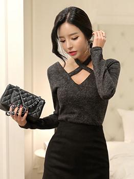 Easy Matching v Neck Bow Design Women Sweater