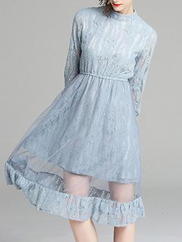 Lace Smart Waist Hollow Out Dress