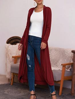 Casual Solid Long Sleeve long Cardigan