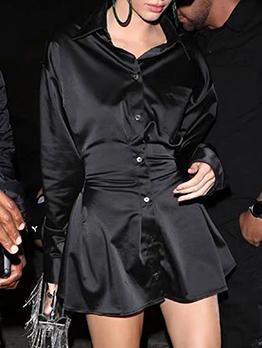 Single-Breasted Smart Waist Black Long Sleeve Dress