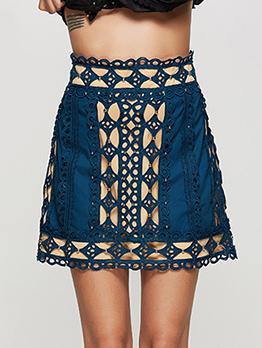 Casual High Waist Beading A-line Skirt