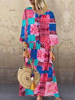 Vintage Colorblock Printed Plus Size Dress
