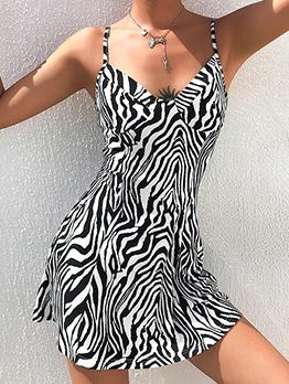 V Neck Zebra Striped Sleeveless Ladies Dress