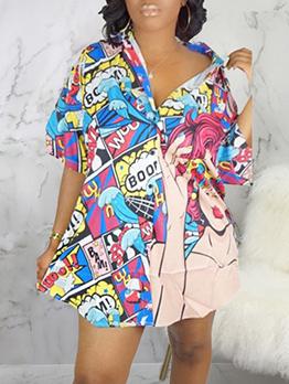 Cartoon Printed Long Sleeve Shirt Dress