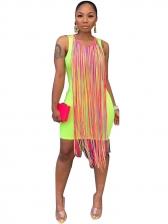 Solid Tassels Wrap Sleeveless Dress
