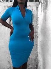 V Neck Solid Knitting Short Sleeve Dress