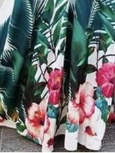 Tropical Plants Printed Smart Waist Maxi Dresses