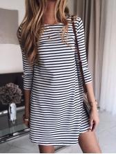 Easy Matching Three Quarter Sleeve Short Dress