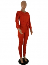 Solid Color Casual Long Sleeve Jumpsuits For Women