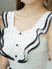 Summer Ruffles Detail Patchwork A-Line Dress