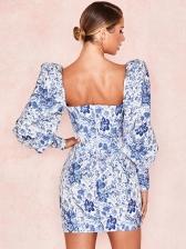 Low Cut Puff Sleeve Flower Printing Short Dress