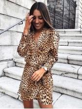 Chic Leopard Printed Tie-Wrap Long Sleeve Dress