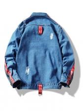 Stylish Patchwork Button Up Men Denim Coat