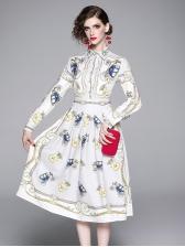 Vintage Turndown Collar Smart Waist Dress
