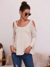 Solid Off Shoulder T Shirts For Women
