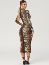 Mock Neck Leopard Printed Long Sleeve Dress