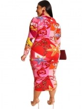 Stand Neck Printed Long Sleeve Plus Size Dress