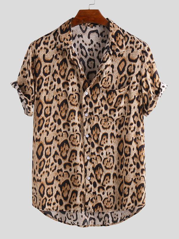 Hot Sale Leopard Printed Short Sleeve Shirt