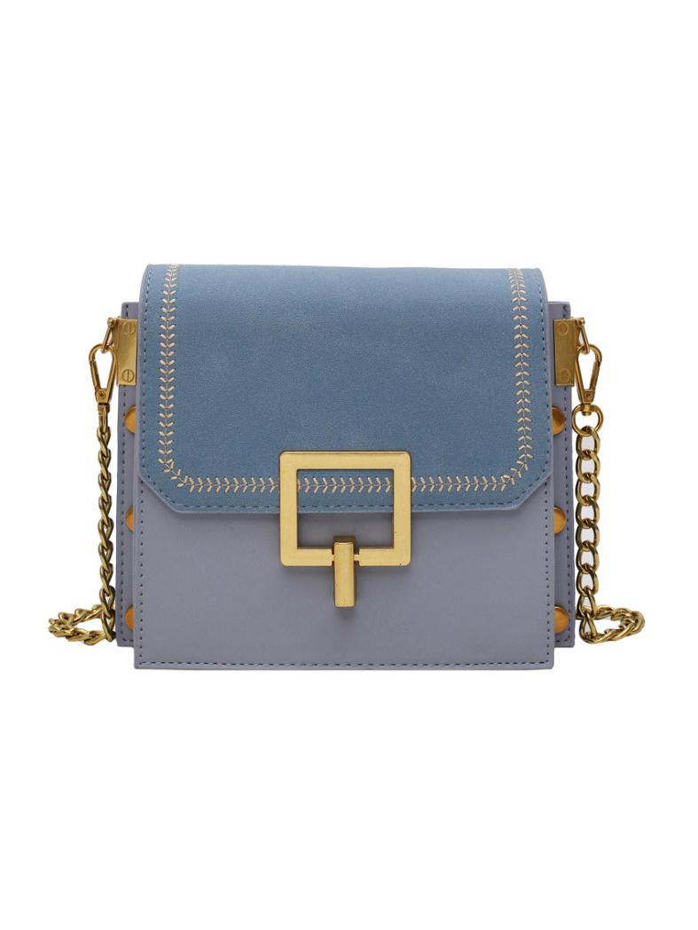 Square Design Metal Splicing Chain Shoulder Bag