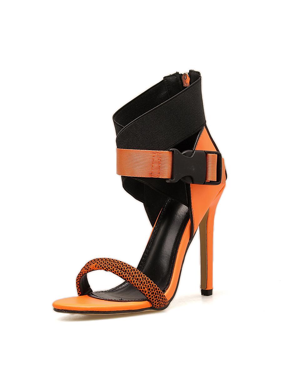 Contrast Color Plastic Buckle Zipper Up Stiletto Sandals