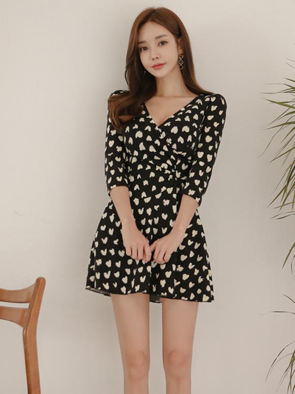 V Neck Floral Smart Waist A-Line Dress