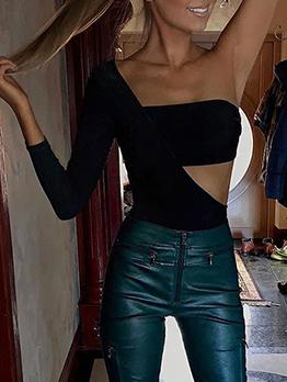 One Shoulder Irregular Hollow Out Black Bodysuit