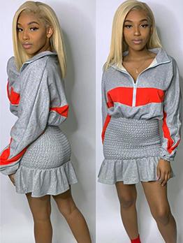 Colorblock Ruffles Hem Pleated Long Sleeve Dress