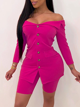 Off Shoulder Single-Breasted Solid 2 Piece Outfits
