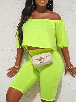 Casual Boat Neck Bright Color Two Piece Short Set