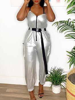 Stylish Zipper Up Spaghetti Straps Silvery Jumpsuit
