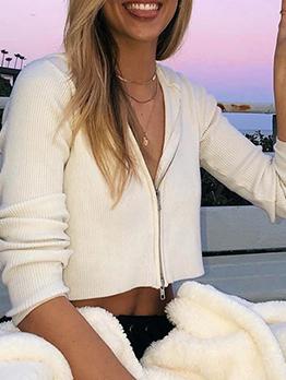 Solid Long Sleeve Hooded Short Womens Coats
