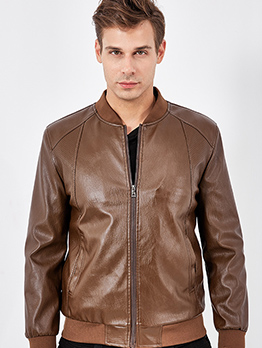 Motorcycle Style Solid Long Sleeve Bomber Jacket