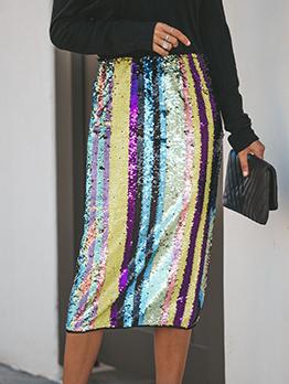 Sequin Black Pencil Midi Skirt